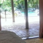 Pool Side Queen bed with ensuite View of pool from bedroom maleny accommodation 4